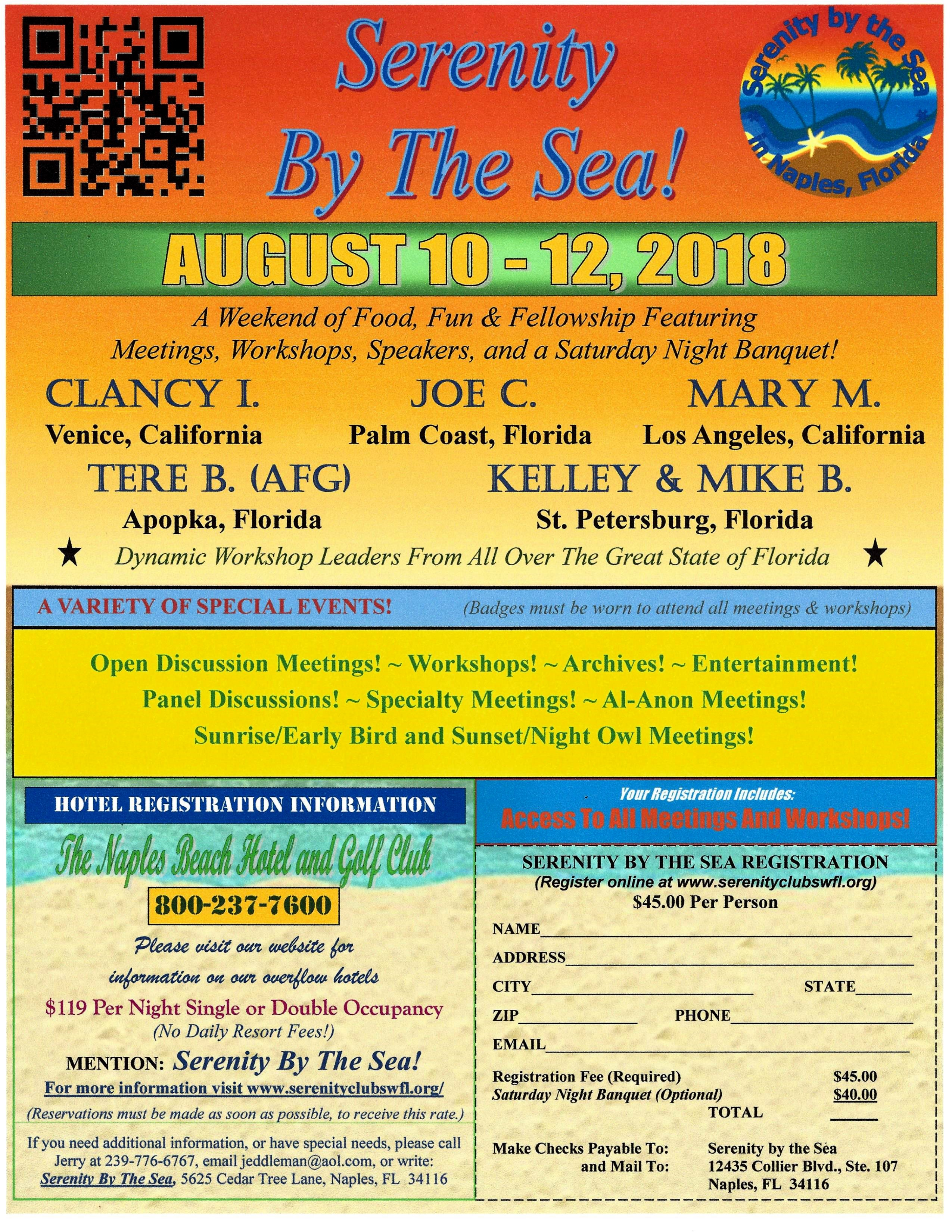NEW Serenity By The Sea 2018 Registration Flyer | Serenity Club of